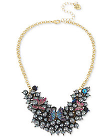 "Betsey Johnson Gold-Tone Imitation Pearl and Pavé Butterfly Statement Necklace, 16"" + 3"" extender"