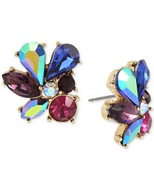 Betsey Johnson Gold-Tone Multi-Stone Cluster Stud Earrings