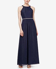 SL Fashions Embellished Shimmer-Detail Gown