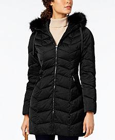 T Tahari Petite Gwen Chevron Quilted Puffer Coat