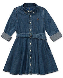 Polo Ralph Lauren Big Girls Denim Cotton Shirtdress