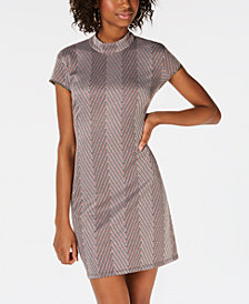 Teeze Me Juniors' Mock-Neck Chevron Cutout Dress