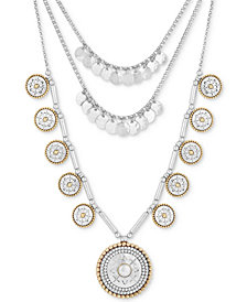 """Lucky Brand Two-Tone Patterned Disc Statement Necklace, 16"""" + 2"""" extender"""
