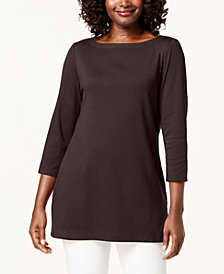 Karen Scott 3/4-Sleeve Cotton Boat-Neck Tunic, Created for Macy's