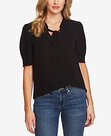 CeCe Ruffled Bow-Neck Top