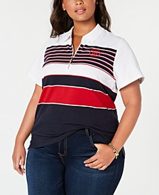 Plus Size Zippered Polo, Created for Macy's