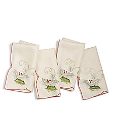 "Homewear Holly Tinsel 18"" x 18"" 4-Pc. Napkin Set"