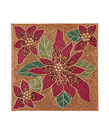 Leila's Linens Beaded Poinsettia 14'' x 14'' Placemat