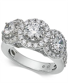 Diamond Triple Halo Ring (3 ct. t.w.) in 14k White Gold