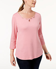 Karen Scott Petite Cotton Embellished Cutout Top, Created for Macy's
