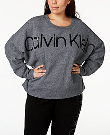 Calvin Klein Performance Plus Size Relaxed Logo Fleece Sweatshirt