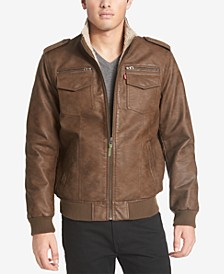 Men's Faux-Leather Aviator Bomber Jacket with Fleece Lining
