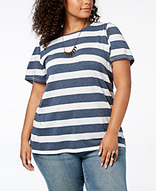 Lucky Brand Trendy Plus Size Striped Top