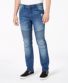 American Rag Men's Slim Fit Moto Jeans, Created for Macy's