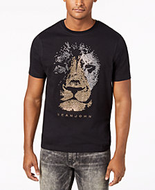Sean John Men's Studded Lion T-Shirt
