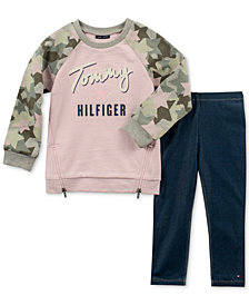 Tommy Hilfiger Little Girls 2-Pc. Camo-Sleeve Sweatshirt and Denim Leggings Set
