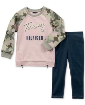Tommy Hilfiger Toddler Girls 2Pc CamoSleeve Sweatshirt and Denim Leggings Set