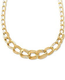 "Graduated Link 18"" Statement Necklace in 14k Gold"