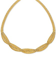 "Braided Wheat Link 17"" Collar Necklace in 10k Gold"