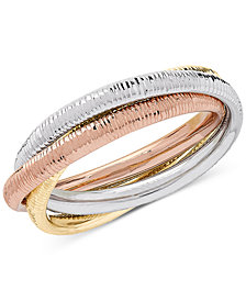 Tricolor Rolling Three-Band Statement Ring in 10k Gold, White Gold & Rose Gold