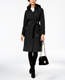 Michael Michael Kors Belted Hooded Trench Coat