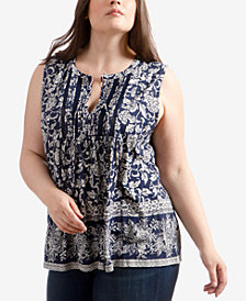 Lucky Brand Trendy Plus Size Printed Lace-Trim Top