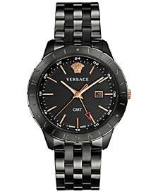 Men's Swiss Business Slim Black Stainless Steel Bracelet Watch 43mm
