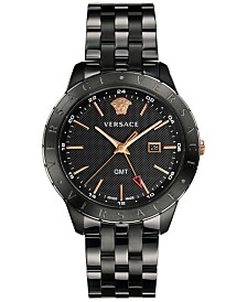 Versace Men's Swiss Business Slim Black Stainless Steel Bracelet Watch 43mm