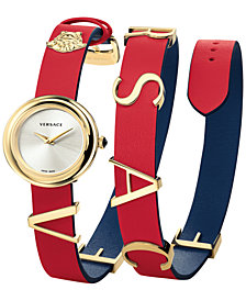 Versace Women's Swiss V-Flare Red & Blue Leather Wrap Strap Watch 28mm