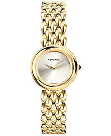 Versace Women's Swiss V-Flare Gold-Tone Stainless Steel Bracelet Watch 28mm