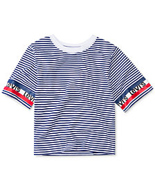 Levi's® Little Girls Striped Logo-Sleeve Cropped Cotton T-Shirt