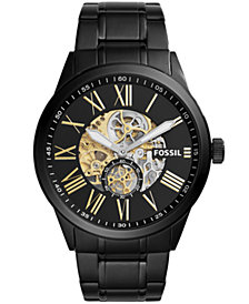 Fossil Men's Flynn Pilot Mechanical Black Stainless Steel Bracelet Watch 48mm