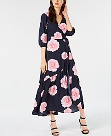 Bar III Floral-Print Flounce Wrap Dress, Created for Macy's