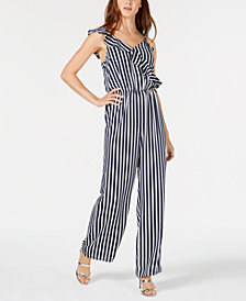 Bar III Striped Ruffle Jumpsuit, Created for Macy's