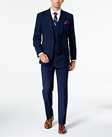 Tommy Hilfiger Men's Modern-Fit THFlex Stretch Navy Plaid Vested Suit