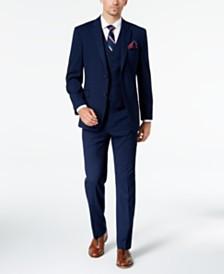 Tommy Hilfiger Men's Modern-Fit THFlex Stretch Navy Plaid Vested Suit