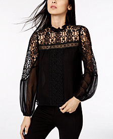 Nanette Lepore Lace-Trim Top, Created for Macy's