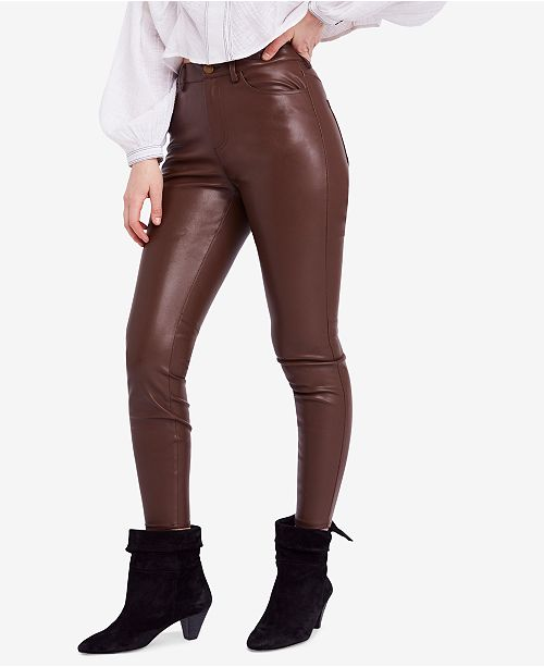 9e53f6a15edf68 Free People Faux-Leather High-Rise Skinny Pants & Reviews - Pants ...
