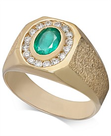 Men's Emerald (3/4 ct. t.w.) & Diamond (3/8 ct. t.w.) Textured Ring in 14k Gold