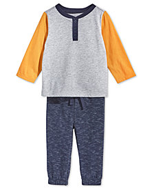 First Impressions Baby Boys Colorblocked Henley T-Shirt & Marled Jogger Pants, Created for Macy's