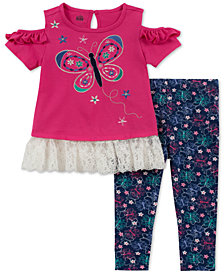 Kids Headquarters Baby Girls 2-Pc. Cold-Shoulder Butterfly Tunic & Leggings Set