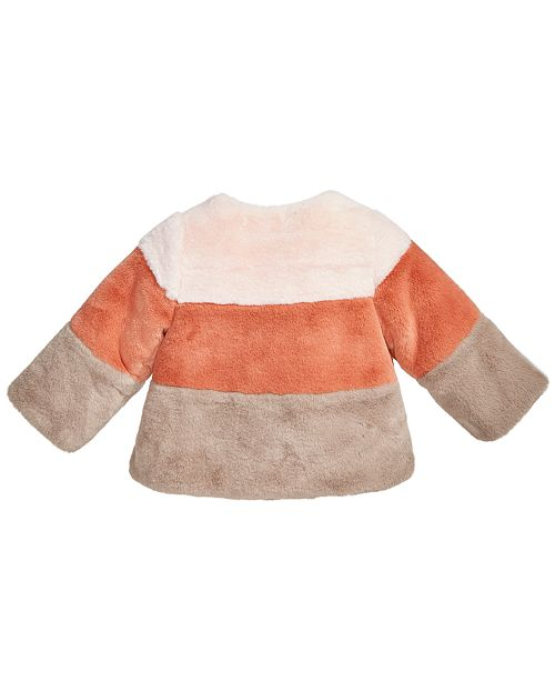 76390fcafdf8 First Impressions Baby Girls Colorblocked Faux-Fur Coat