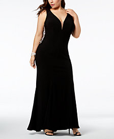 XSCAPE Plus-Size Plunging Rhinestone-Embellished Gown