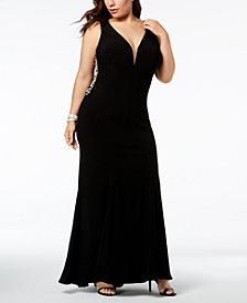 XSCAPE Plus-Size Plunging Rhinestone-Embellished Gown