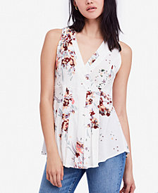 Free People Back to Basics Floral-Print Wrap Top