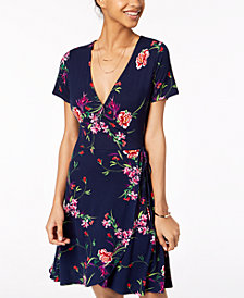 One Clothing Juniors' Side-Tie Wrap Dress