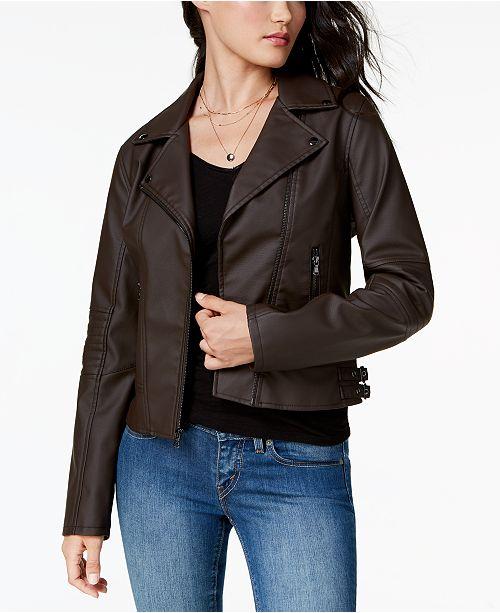 40b0c842b09 Celebrity Pink Juniors  Faux-Leather Moto Jacket   Reviews - Coats ...