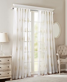 "Bombay Massa Embroidered 50"" x 84"" Sheer Rod Pocket/Back Tab Window Panel"