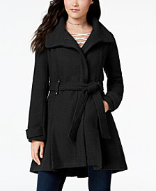 Madden Girl Juniors' Textured Belted Wrap Coat