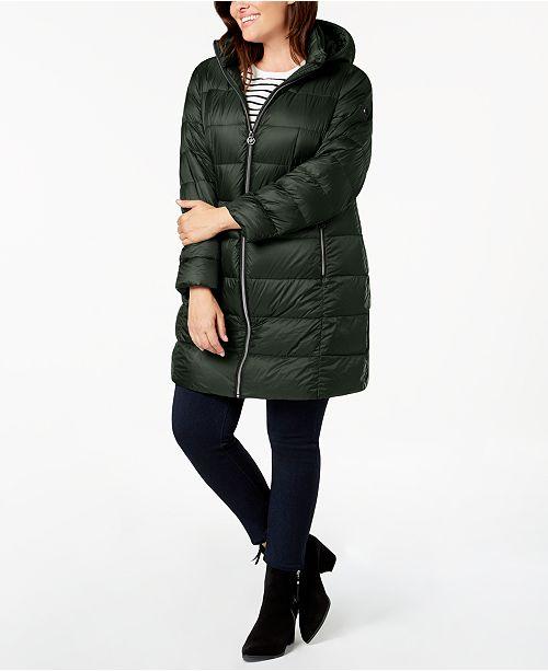 c3797a86147 Michael Kors Plus Size Hooded Puffer Coat & Reviews - Coats - Women ...